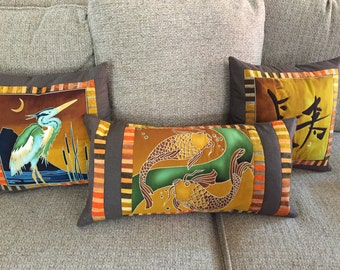 Asian motif pillow covers, set of 3