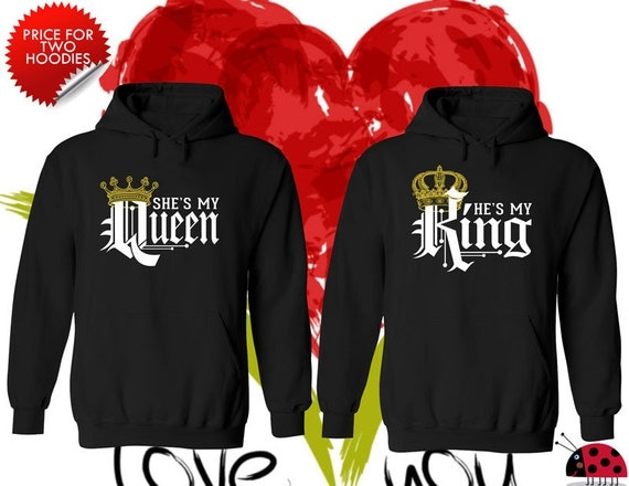 price for 2 hoodies king and queen perfect matching love. Black Bedroom Furniture Sets. Home Design Ideas