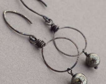 Rustic Oxidized Silver Earrings -- Wire Wrapped -- Pyrite