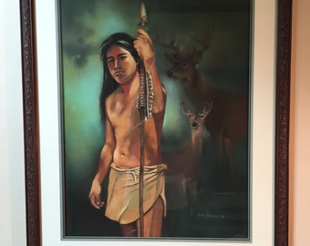 "Original Native American Painting/""The Deer Hunter"""