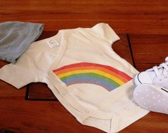 Organic Cotton Onesie/Bodysuit-Rainbow Design-Short or Long Sleeve- Kimono Style