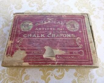 American Crayon Company Antique Wooden Crayon Box