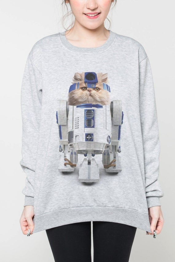 star wars shirt pullover damen sweatshirt katze r2 d2 m nner. Black Bedroom Furniture Sets. Home Design Ideas