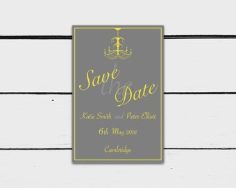 Printable Save the Date Card: Grey and Yellow Chandelier