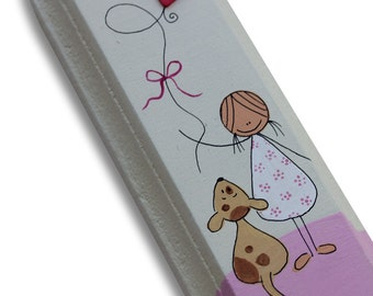 Hand made Girls Mezuzah Case  - Nursery  Mezuzah Case - kids room Mezuzah - Bat Mitzva - A girl with a puppy