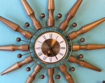 Vintage Seth Thomas Starburst Clock Atomic Wall Clock Marked August 1972