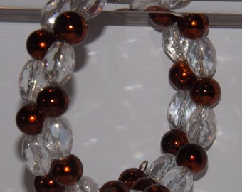 Copper Pearls and Clear Glass Wired Bracelet