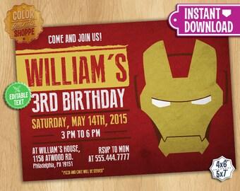 IronMan Invitation - EDITABLE TEXT - Customizable Superhero Printable Birthday Party Invite Iron Man Superheroes - Instant Download