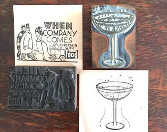 Vintage art deco wood printers blocks letterpress metal stamps cocktails baby carriage
