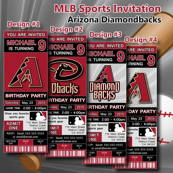 Arizona Diamondbacks Birthday Invitation Baseball By DigiSport