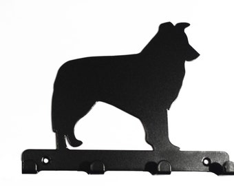 Border Collie Silhouette Key Hook Rack - metal wall art
