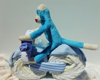 Blue Sock Monkey Boy Motorcycle Diaper Cake with Receiving Blankets and Baby Bibs