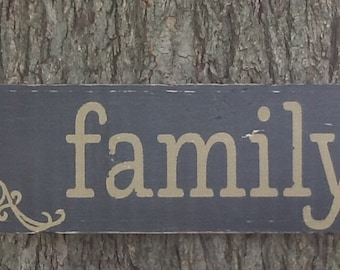 ON SALE - Family Wood Sign Rustic Family Sign Chalk Paint Wood Sign