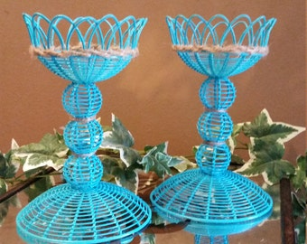 Set of 2 Painted Aqua Wicker Candle Holders, Shabby Chic, Rustic Decor, Beach Chic