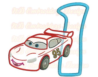Red Car 1st Birthday Set Embroidery Applique Design,  race car number 1-9 selection,  vl-006-1