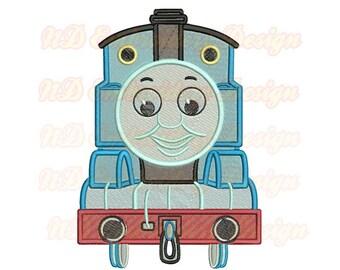 Thomas Train Face Machine Embroidery Design, Filled Stitch Tank Engine,  vl-009-fill