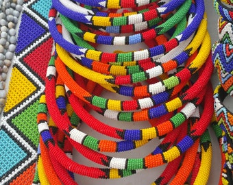 Assorted traditional Zulu beaded necklace each