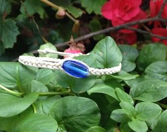 Braided Bracelet with Blue Glass Bead Hemp Bracelet