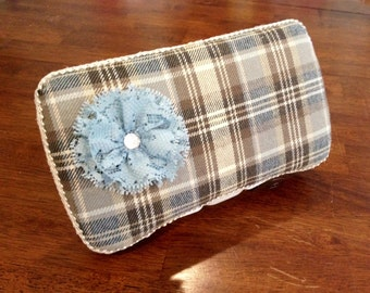 Diaper Wipe Case in Brown and Blue Plaid