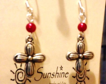 Metallic Flowered Cross Earrings