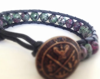 Green Jasper Semi-Precious Stone Leather Bracelet