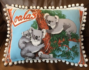 Retro cushion cover, Tea towel cushion cover, Koala souvenir cushion cover, Handmade cushion cover