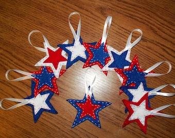 10 patriotic star ornaments, patriotic decor, felt stars,  holiday decor, july 4th, americana, american decorations, USA