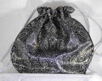 Victorian / Bohemian Style Drawstring Evening Bag // Black Evening Bag // Drawstring Bag // Black and Silver Brocade Bag // Gift Bag