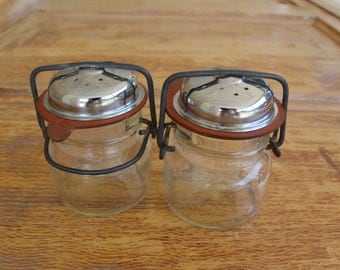 Vintage Glass Wired Salt & Pepper Shakers
