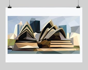 Low poly poster- Sydney Opera House