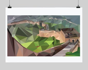 Low poly poster- Abstract- Great Wall of China