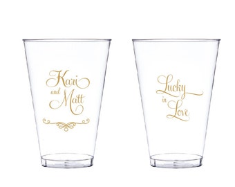50 Lucky in Love Personalized Wedding Clear Hard Plastic Cups