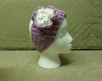 Purple and White  Crocheted Headband with Flower