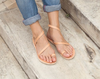 Women sandals, Leather sandals, Toe ring Strappy Sandals, Sandals for women, Greek sandals, Summer sandals