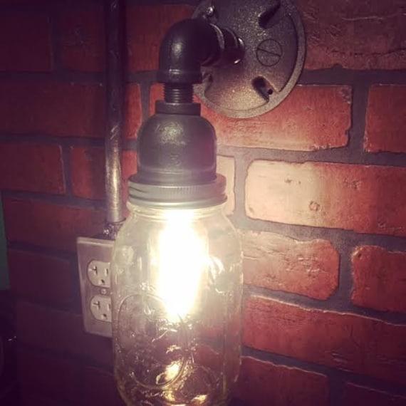 Rustic Industrial Modern Mason Jar Lights Vanity Light: Steampunk Mason Jar Wall Sconce Industrial By
