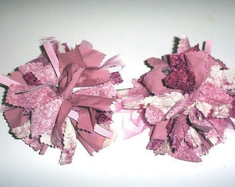 Pink Mauve Rose Raggy Hairbow Style Boutique Pigtail Hair Bow Set Of Two Ready To Ship
