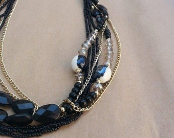 Black Gold Necklace, Black Seed Beads, Turquoise Necklace,  Gold Chains, Moder Necklace, Ready To Ship