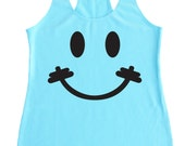 Weight Lifting Tank, Exercise Tank, Gym Tank, WOD Tanks, Work Out Tanks, Workout Tanks for Women, Smiley Face Barbell, Happy Face Barbell