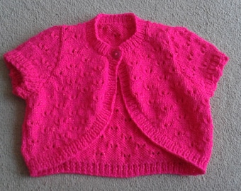 hand knitted bolero made to order in the colour and size of your choice.Prices may vary