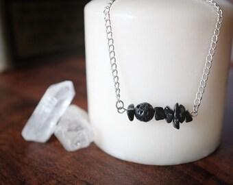 Black Jasper and Lava Rock Essential Oil Diffuser Necklace or Bracelet