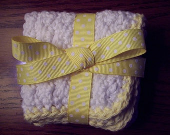 Yellow 100% Cotton Crocheted Washcloths (set of 2)