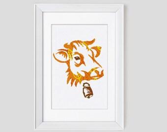 Cow cross stitch pattern, modern counted cross stitch cow ,  cow modern cross stitch pattern, cow cross stitch pdf pattern