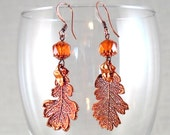Oak Leaf Earrings in Copper