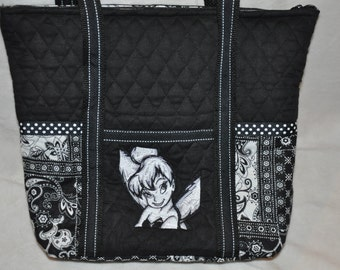 New!  Tinkerbell Fairy Black & White Toile Pre-quilted Handbag - Shoulder Bag - Tote Bag
