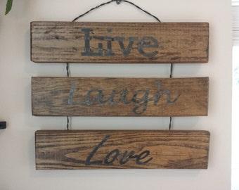 Customizable hanging wooden sign on Reclaimed wood
