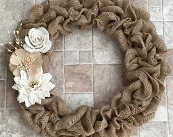 """Elegant & Rustic Neutral Burlap Wreath - 22"""" diameter"""