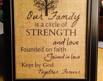 Our Family Burlap Print