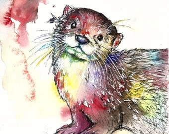 Delilah The Otter Limited Edition A3 Painting Watercolour Colour Print