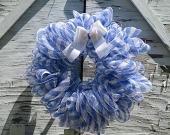 Blue White Mesh Wreath