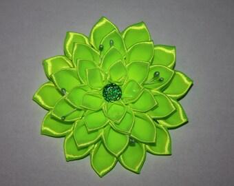 Easter/School/Party Handmade Girl's Flower Hair Clip - neon green